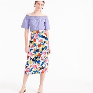 J Crew Morning Floral Midi Pencil Skirt